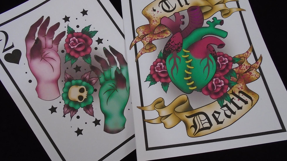 """Halloween Print Bundle """"Til Death"""" and """"Two of Hearts"""""""