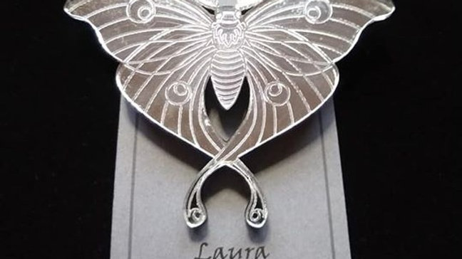 Mirrored Luna Moth Brooch