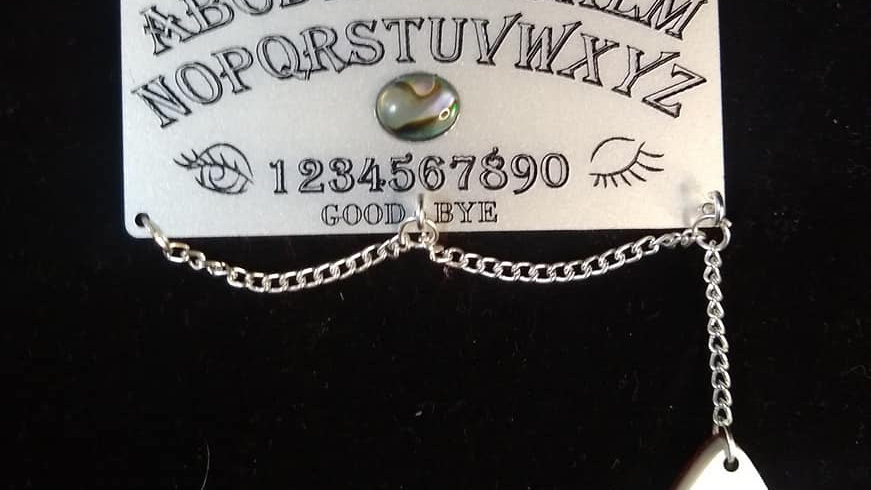 Pearl Acrylic Ouija Board Necklace with Abalone Inlay