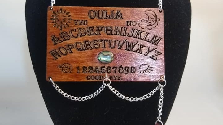 Wood and Abalone Shell Ouija Board Necklace