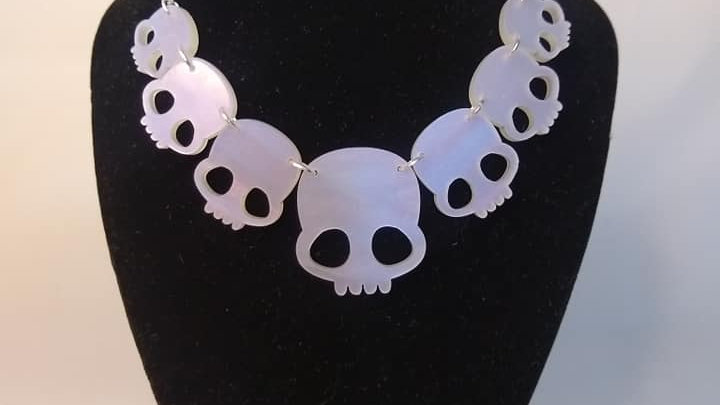 Iridescent Ghost Pearll Acrylic Skulls Necklace