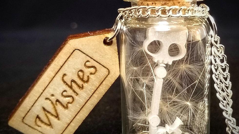 Pearl Skeleton Key Wishes Bottle Necklace