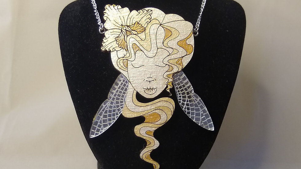 Art Nouveau pearl and silver dragonfly lady pendent