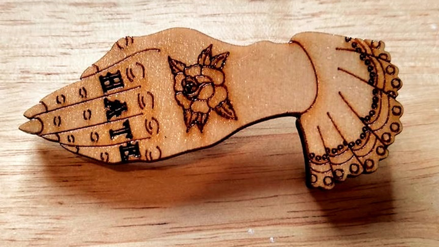 """Hate"" Tattoo Hand Brooch"