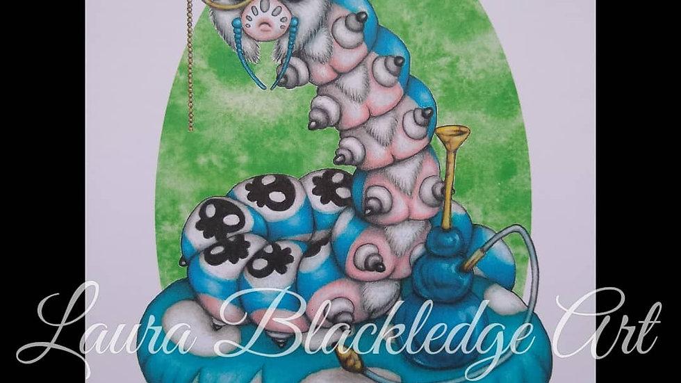 Caterpillar with Hookah print