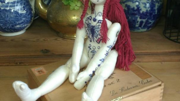 Breanna, blue and white china-pattern tattooed art doll.