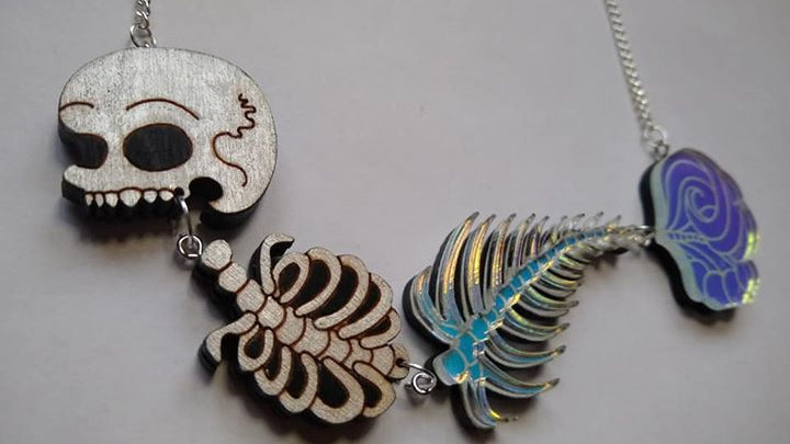 Iridescant Tail Mermaid Skeleton Necklace