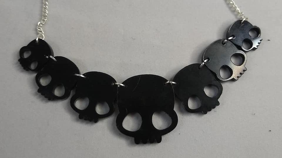 Gloss Black Acrylic Skulls Necklace