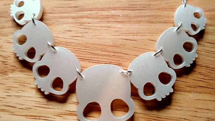 Pearlised Acrylic Skull Necklace