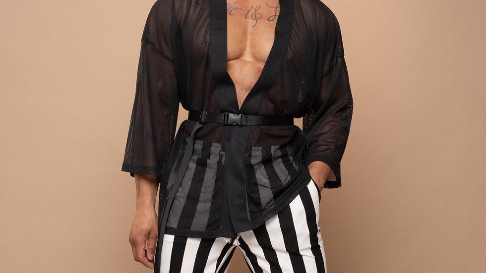 Black Mesh Kimono Top
