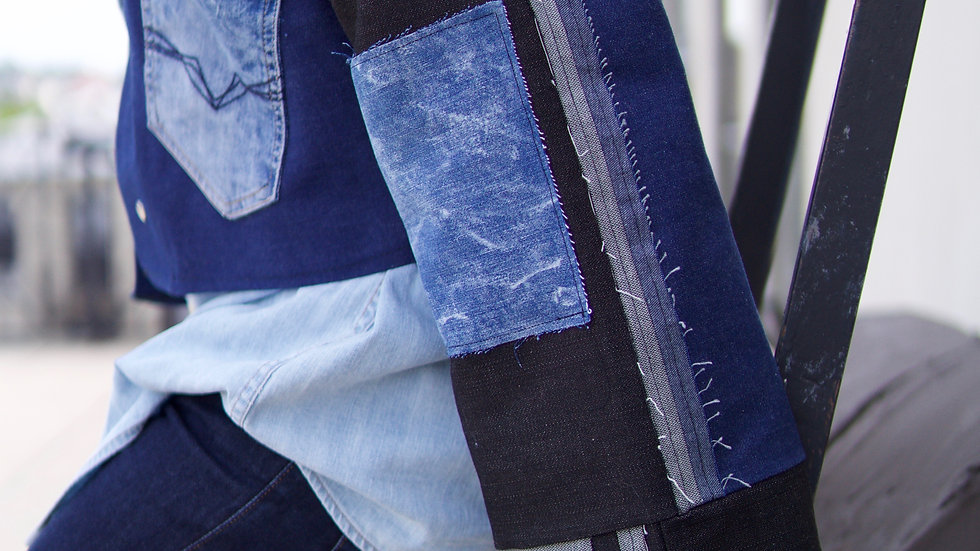 Custom cropped denim jacket  1 of 1