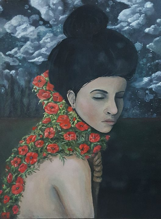 Before the dawn, I embrace myself with poppies
