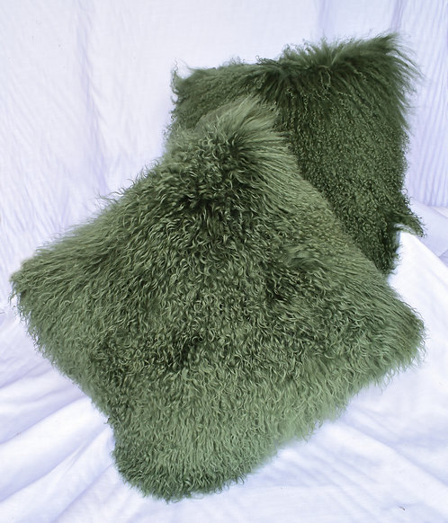 Olive Green Tibetan  Fur Pillows with Micro Suede Backs.