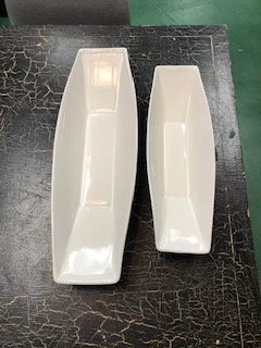 Long White Ceramic Trays - Set of 2