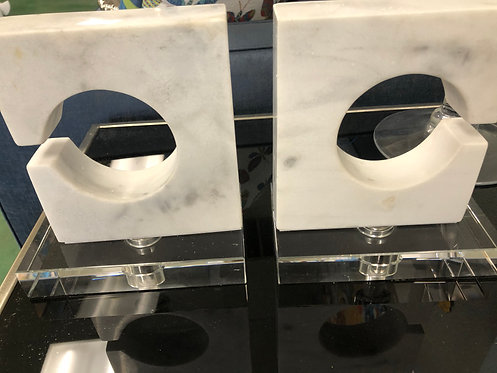 Marble and Acrylic Bookends - Set of 2