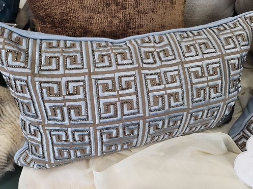 a setsoft gray blue and taupe lombar pillows