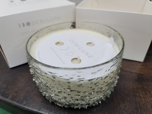 textured glass candle.. fragrance is fabulous!
