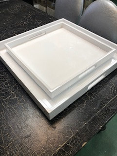 White Lacquer Trays - Set of 2