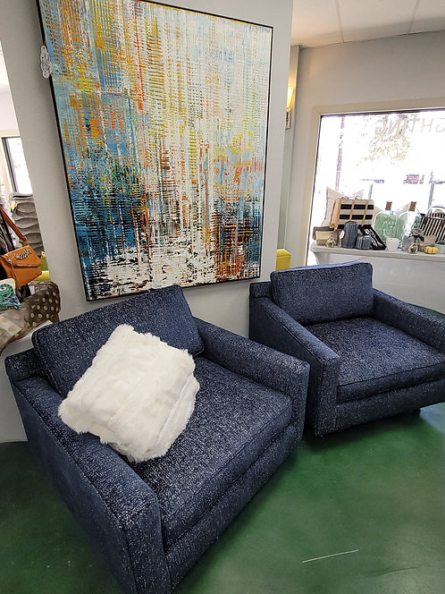 contemporary blue chenille club chairs