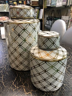 White Lidded Jars with brass lattice detail - Set of 2