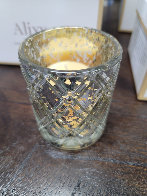 etched mercury glass votive and candle.  pumpkin spice