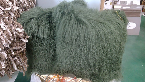 DEEP OLIVE GREEN Tibetan  Fur Pillows with micro suede backs.