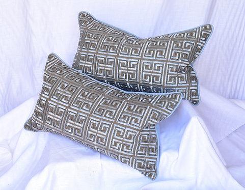 Gray/Blue/Taupe Lumbar Pillows