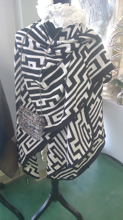 black and white greek key patterned wrap