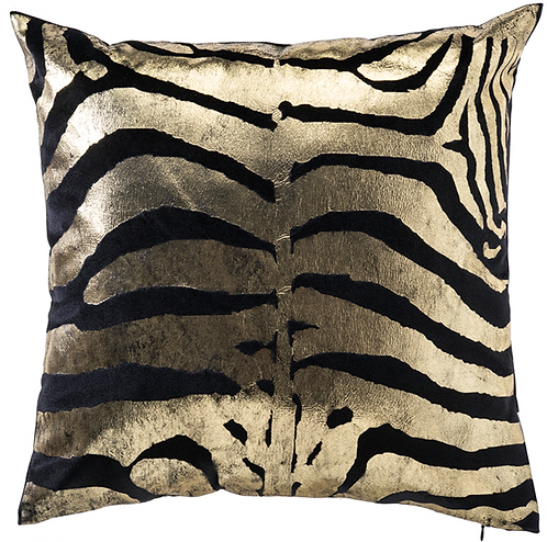 Black and Gold Animal Print Pillow