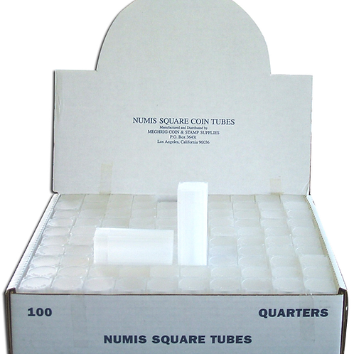 Square Coin Tubes, Various Sizes,  Packs of 10
