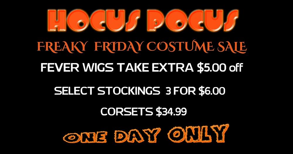 Hocus Pocus Halloween Costume Shop, Freaky Friday Sale