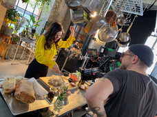 Coop commercial on set with Lotta Lundgren cooking