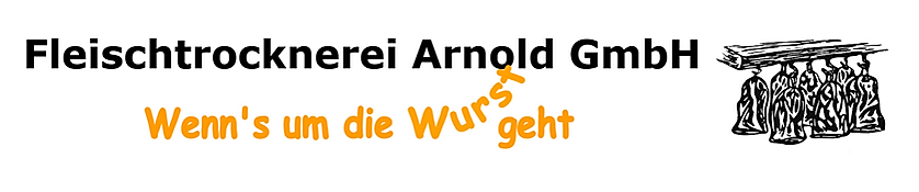 Logo Fleischtrocknerei Arnold GmbH, Logo, Wenn's um die Wurst geht