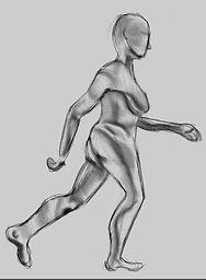 female_side_walking into light_conturing