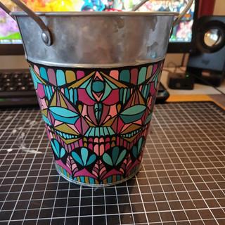 Art Deco themed Tin bucket