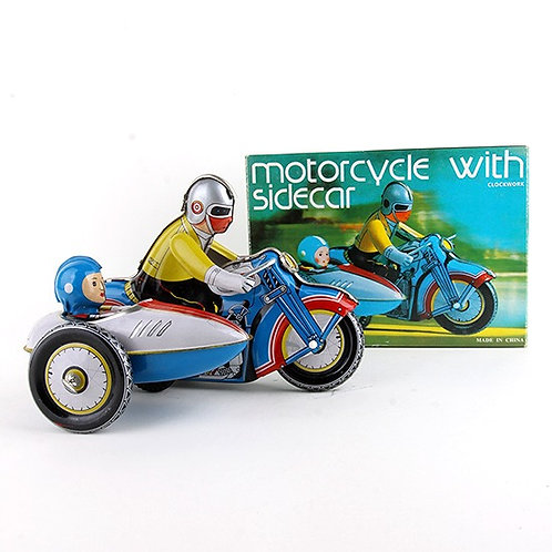 Motorcycle with Sidecar - Classic Windup Tin Toy - Clockwork