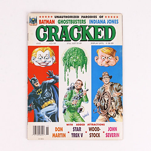 Cracked Magazine - Vintage Nov 1989 # 249 - Ghostbusters - Indiana Jones