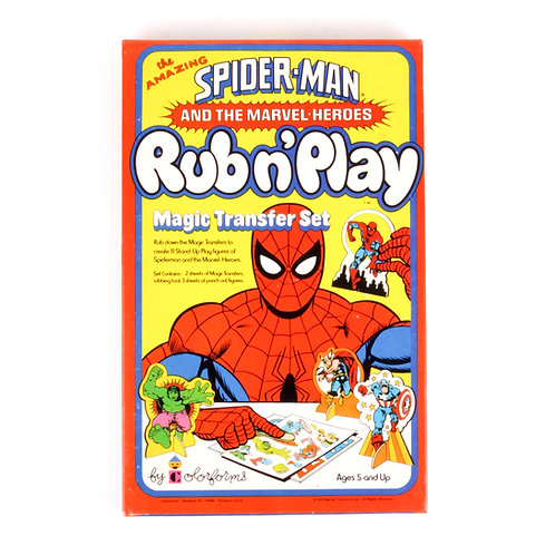 The Amazing Spider-Man  Vintage 1978 Rub n' Play Magic Transfer Set - Colorforms