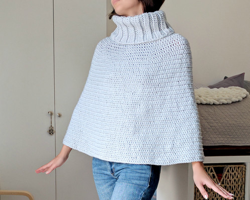 Cowl Neck Capelet - Crochet Poncho Pattern