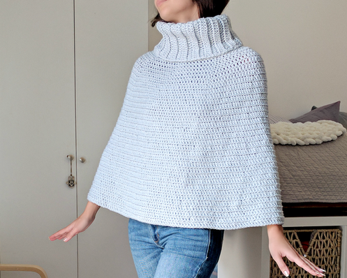 Cowl Neck Capelet Crochet Poncho Pattern