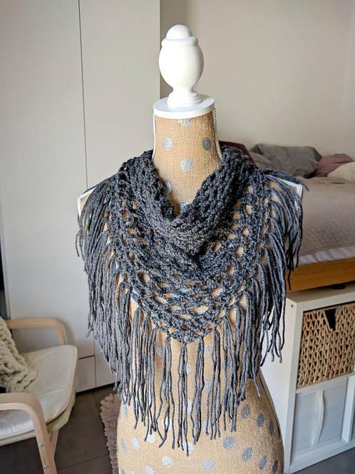 Crochet Triangle Scarf Pattern Mesh Fringe Scarf