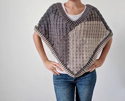 Crochet Poncho Pattern - Corner to Corner Poncho with Caron Big Cakes