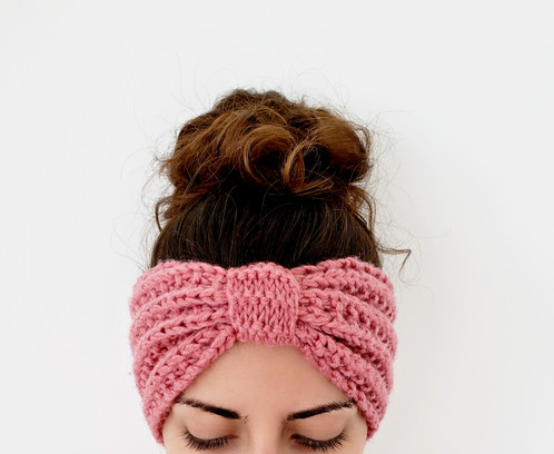 Seeded Rib Stitch Ear Warmer Knit Headband Pattern