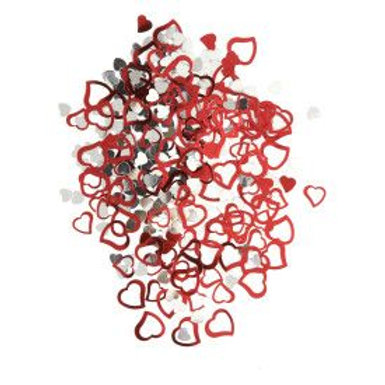 Confetti Hearts Red/Silver .5Oz