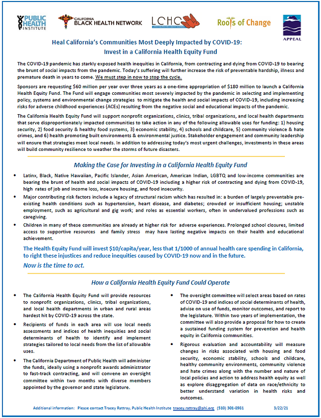 CA for a Health Equity Fund Fact Sheet