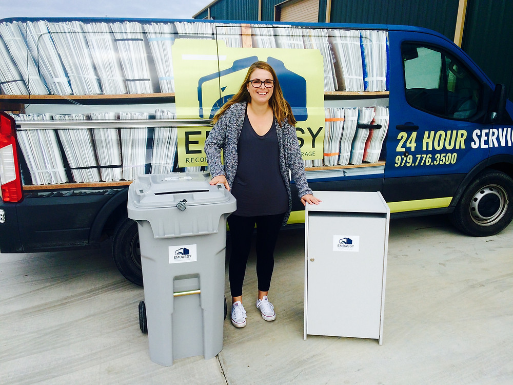 Secure locked shredding containers.  65 gallon shred container and 30 gallon shred console.
