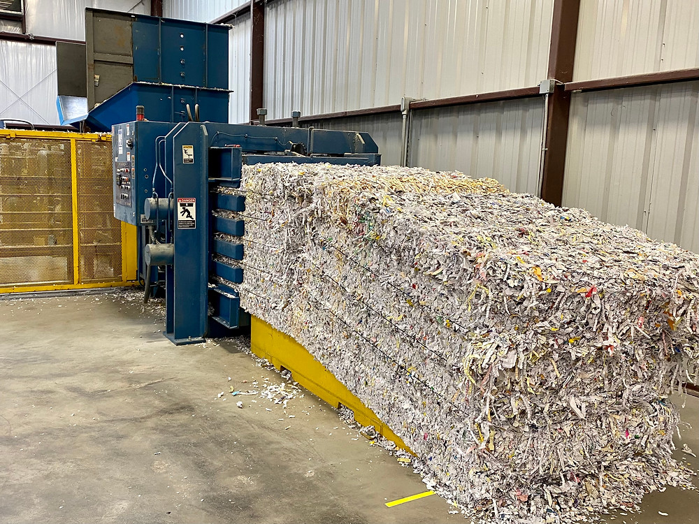 All paper shredding is baled and recycled at ERMS.  Document shredding happens in the same fashion.