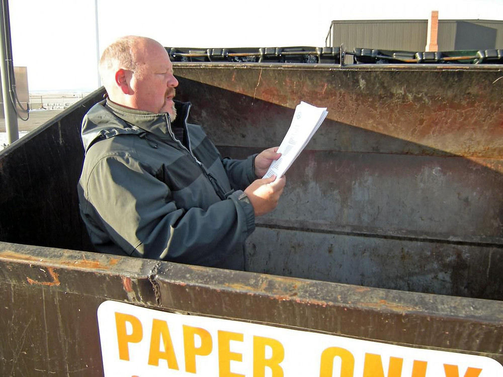 Avoid dumpster diving.  Schedule a paper shredding service to service your shredding needs.  Dta breaches are too costly.