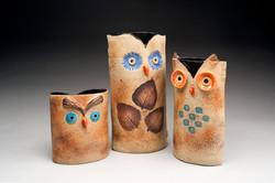 Handbuilt owl pottery masterpieces