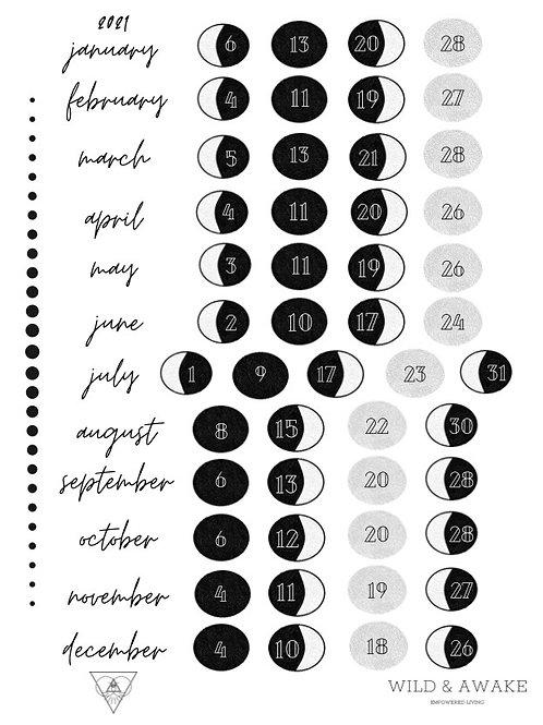 Wild & Awake 2021 Moon Phase Calendar